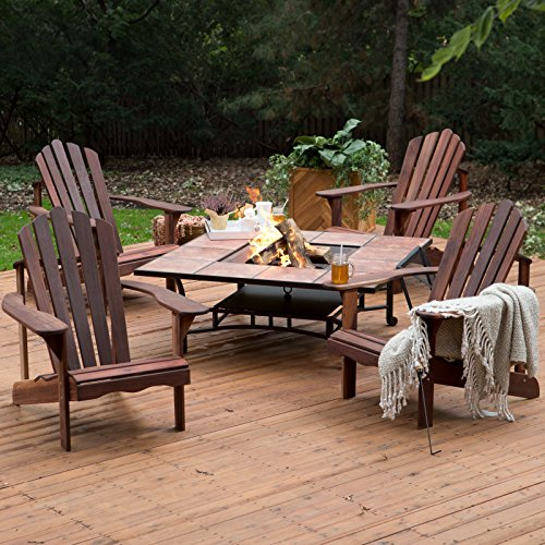 Outdoor Fire Pit Chat Funiture Set Richmond 4 Deluxe Adirondack Chair Great Backyard Set (Fire Pit Chat Sets)