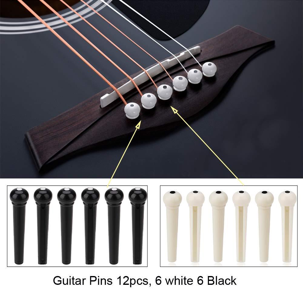 OOTSR 46pcs Herramienta de Cambio de Guitarra, Kit de Guitarra Incluyendo Cuerdas de Guitarra Selecciones de Sintonizador de Guitarra Pasadores de Guitarra ...
