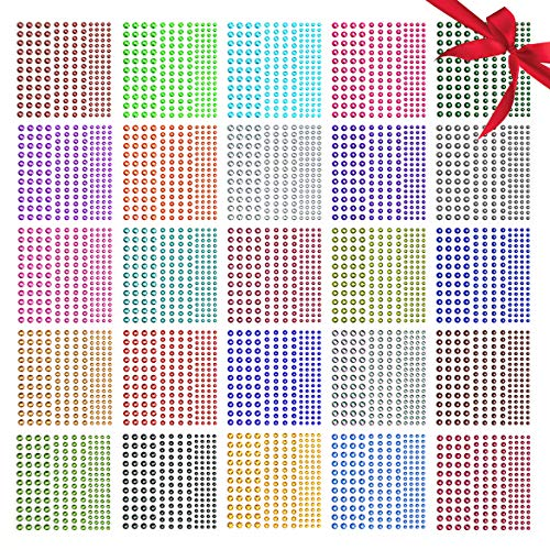 Rhinestone Stickers,Nicpro Self-Adhesive Face Gems Face Stickers Body Jewels 4125 Pieces Crystal in 3 Size 25 Colors,25 Embellishments Sheet for Nail,Crafts,Festival,Carnival,Makeup -