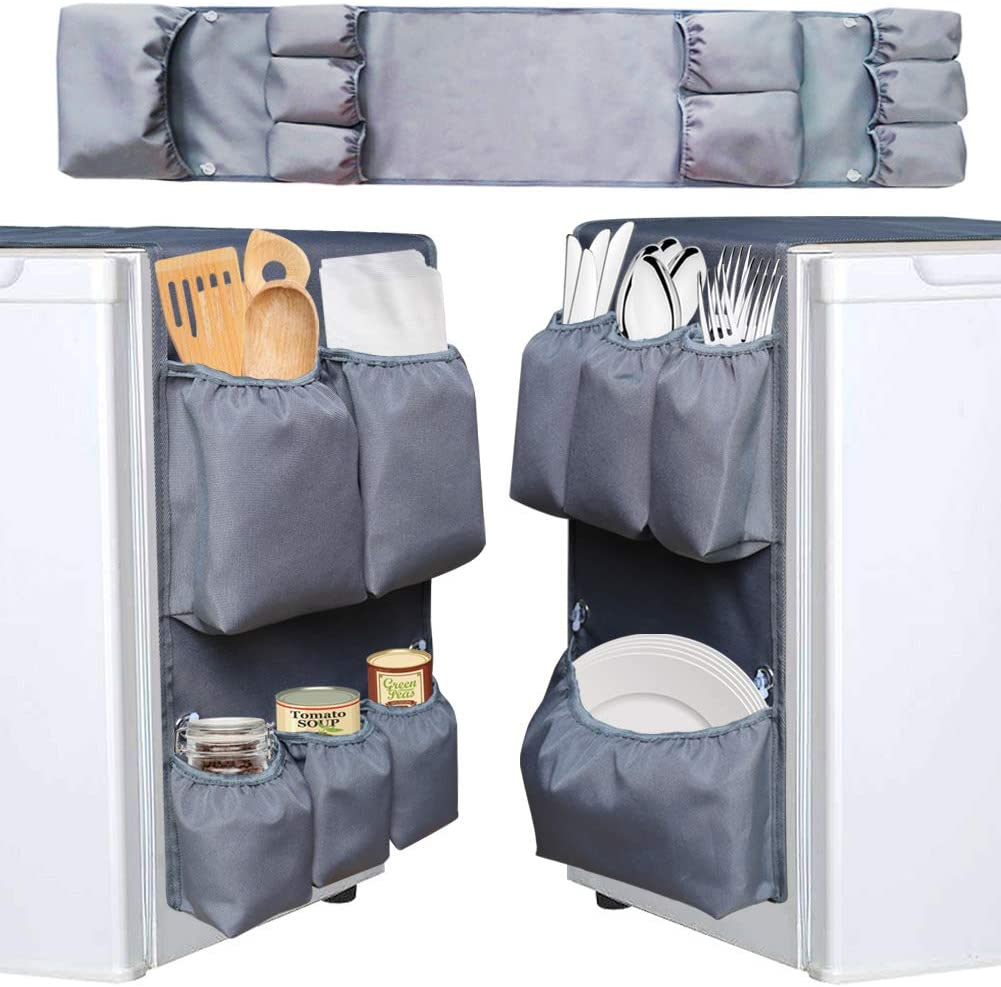 Suction Cup Refrigerator Double Side Caddy Organizer,Dorm and office Over the Fridge Caddy Organizer, 9 Pockets for flatware, utensils, kitchen tools and paper goods