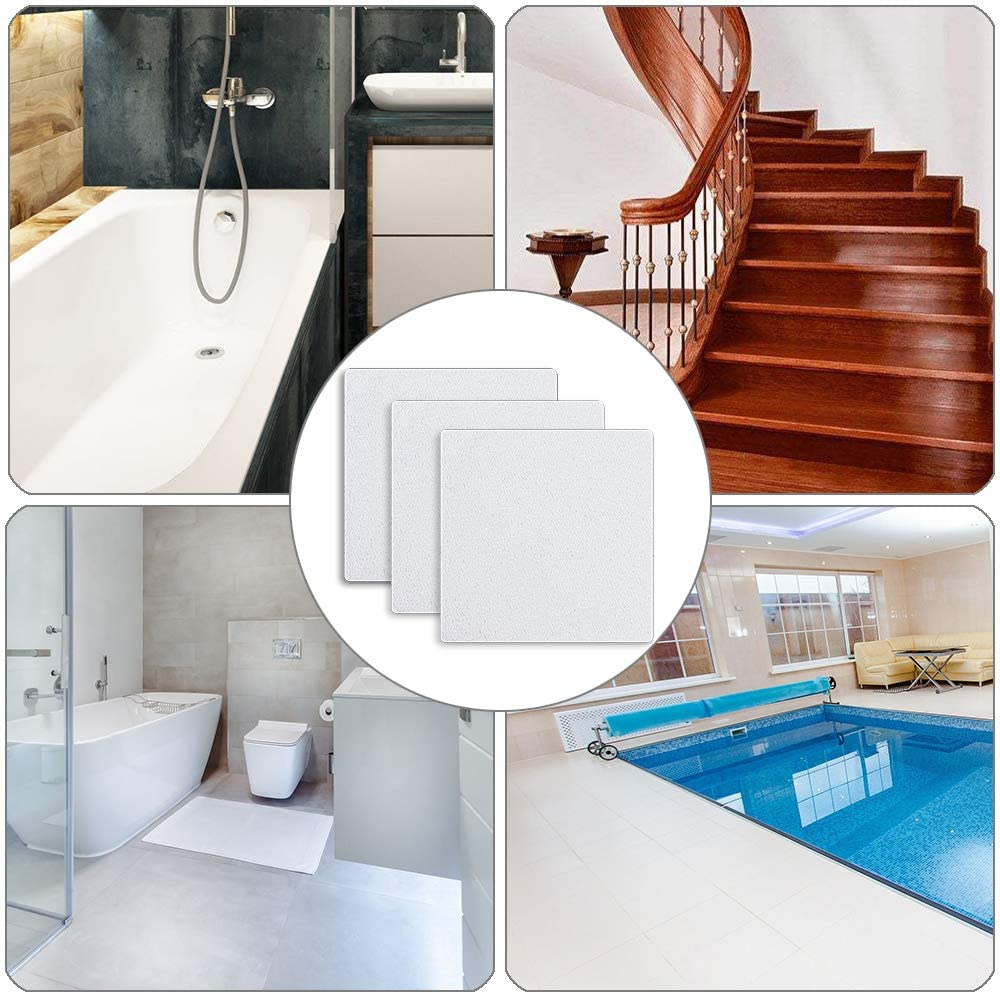 4 inch x 4 inch Rounded Corners UCOFFEE Bathtub Stickers Non-Slip,Premium10 Pieces Safety Shower Treads Adhesive Decals Anti-Slip Appliques with Premium Scraper