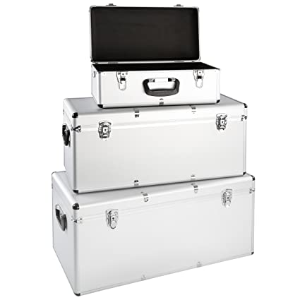 Juego de 3 cajas de aluminio para herramientas (aluminio caja de transporte Caja de almacenamiento