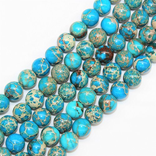 8mm Imperial - Lynxus 2mm Large Hole Blue Imperial Jasper Gemstone Loose Beads 8mm 46 Beads Per 15.5