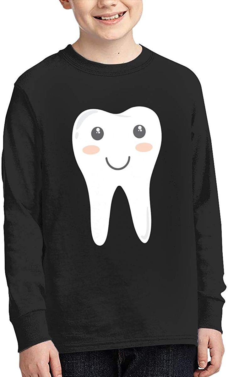 Cute Teeth Baby Youth Long Sleeve Moisture Wicking Athletic T Shirts Casual Tee Graphic Tops for Teen Boys Girls