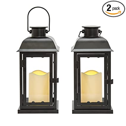 Attractive Outdoor Black Solar Candle Lanterns, 11u0026quot; Height, Warm White LEDs, Dusk  To