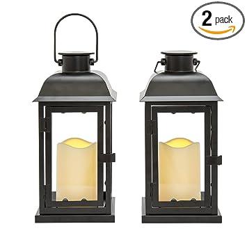 Wonderful Outdoor Black Solar Candle Lanterns, 11u0026quot; Height, Warm White LEDs, Dusk  To