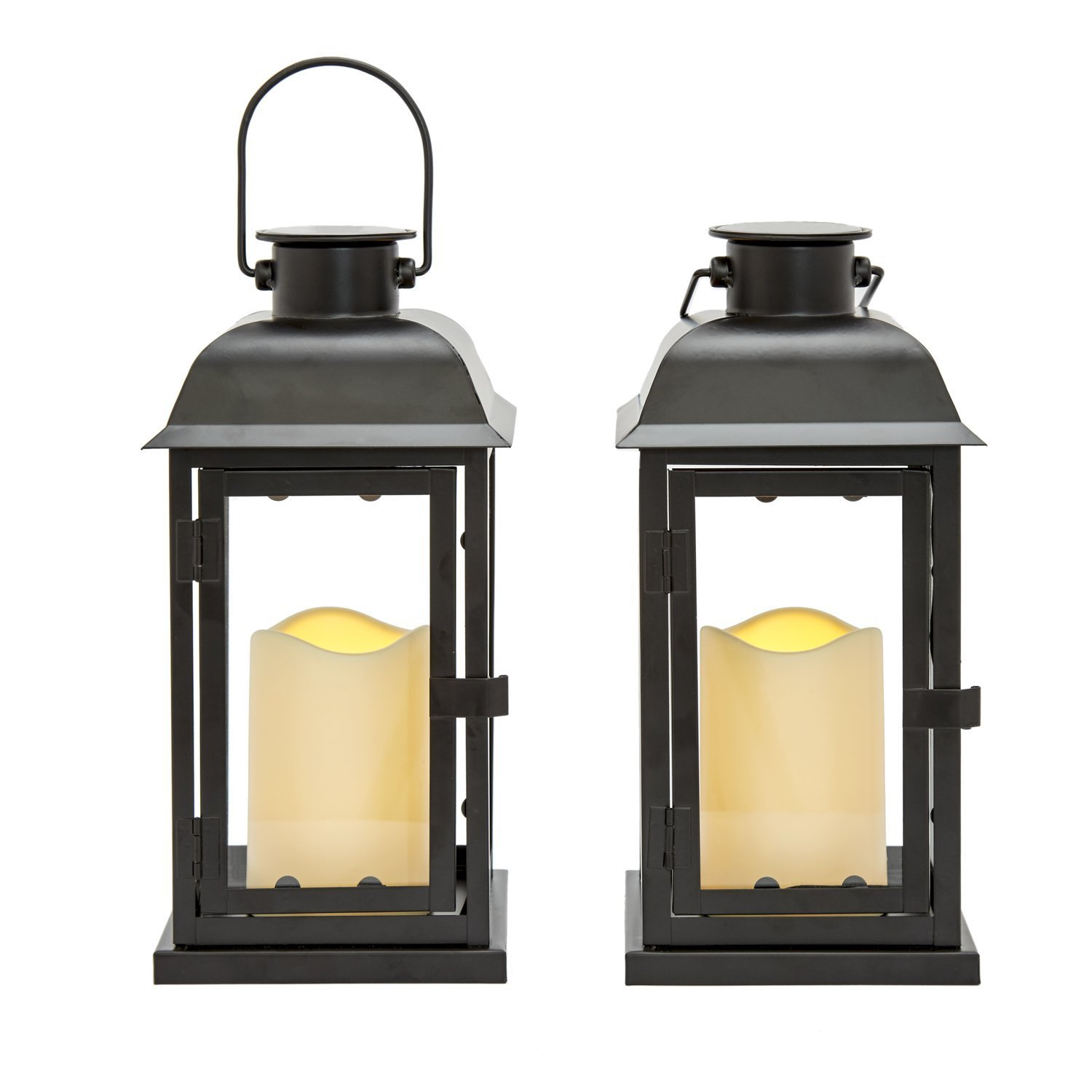 Outdoor Black Solar Candle Lanterns, 11'' Height, Warm White LEDs, Dusk to Dawn Technology, Batteries Included - Set of 2
