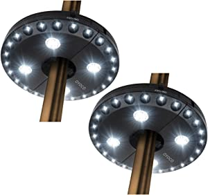 OYOCO Patio Umbrella Light 3 Brightness Modes Cordless 28 LED Lights 200 lumens- 4 x AA Battery Operated,Umbrella Pole Light for Patio Umbrellas,Camping Tents or Outdoor Use (2 pack-28LED Cool White)