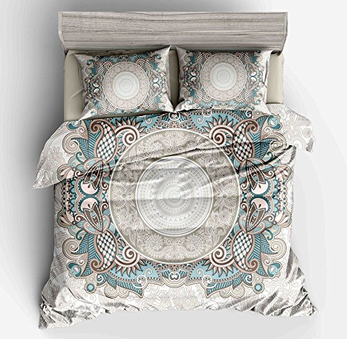 KTLRR Bohemian Duvet Cover Set, Boho chic Mandala Medallion Printed Soft Microfiber Bedding Set with Pillow Shams,No Comforter, with Zipper Closure. (Boho 4, King 3pcs)