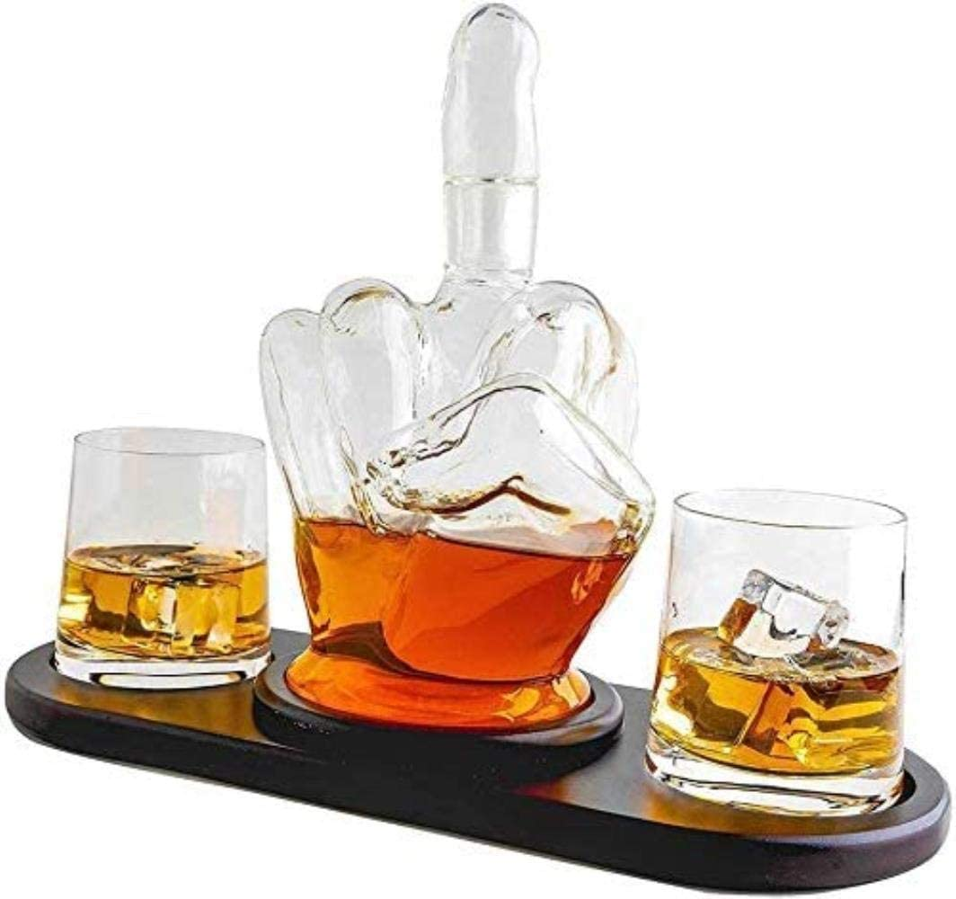 JINGBO Glass Decanter Set with 2 Pcs Glasses Middle Finger Style Hand Blown Etched Glass Drinks Decanter Whiskey Decanter Set for Crafted Glass Brandy Tequila Bourbon Scotch Rum