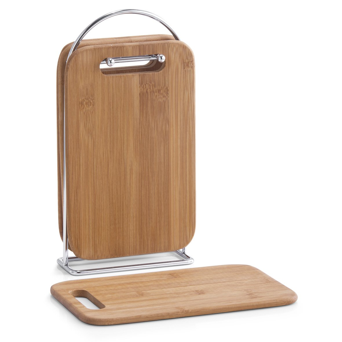 Zeller 25264 5-Piece Chopping Board Set Including Board Stand Bamboo Chrome