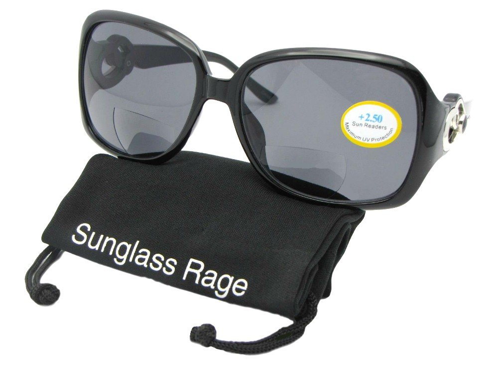 Medium Fashion Bifocal Sunglasses For Women Style B119 (Black/Silver Deco-Gray Lenses, 2.50) by Sunglass Rage (Image #2)
