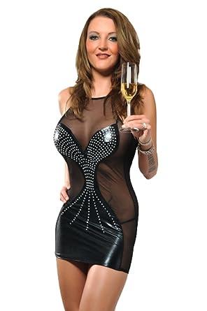 Extravagantes Lycra Strass Minikleid Abendkleid transparent hauteng ...