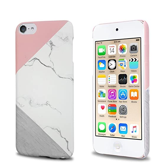 huge selection of 5c9dc bc336 J.west iPod Touch 6th Generation Case, iTouch 5/6 Case Unique Marble Design  Pink Geometric Anti-Scratch &Fingerprint Shock Proof Ultra Thin Non Slip ...
