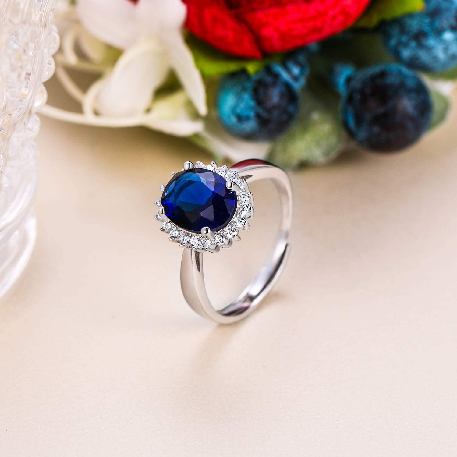 EVER FAITH Oval CZ Bridal Halo Engagement Adjustable Ring 925 Sterling Silver Sapphire Color for Women