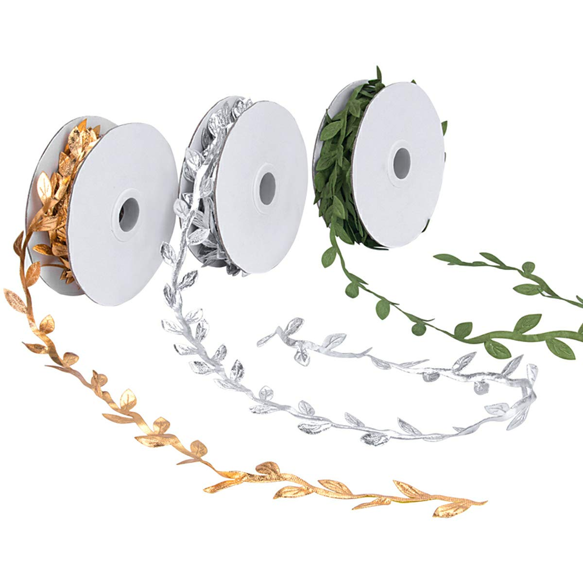 Kelife Leaf Ribbons,Gold Leaf Ribbons,Olive Green Leaf Ribbons,Silver Leaf Ribbons Trim Spool, Green Leaf Ribbon Trim Spool, Wreath Making Gift Wrapping Wedding Decoration 30YardsX 3 Pack