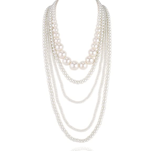 1920s Gatsby Jewelry- Flapper Earrings, Necklaces, Bracelets Kalse Multiple layers 5 12 Strand Simulated Pearl White Beads Cluster Long Bib Party Necklace $10.99 AT vintagedancer.com