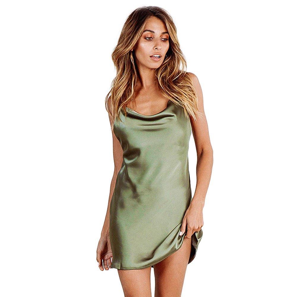 Women's Casual Backless Sleeveless Spaghetti Strap Mini Dress Sexy Cocktail Club Party Camis Dresses Beach Sundress Green