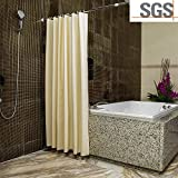 ABC life Shower Curtains SGS Certified 100% Safety PEVA Material Mildew Resistant Water Proof Non Toxic with Hooks ¡­ (Beige, 71x71 inch)
