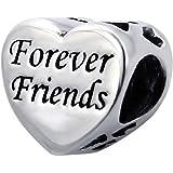 So Chic Bijoux © Charm Coeur Amitié Forever Friends - Charms Compatibles Pandora, Trollbeads, Chamilia, Biagi - Argent 925