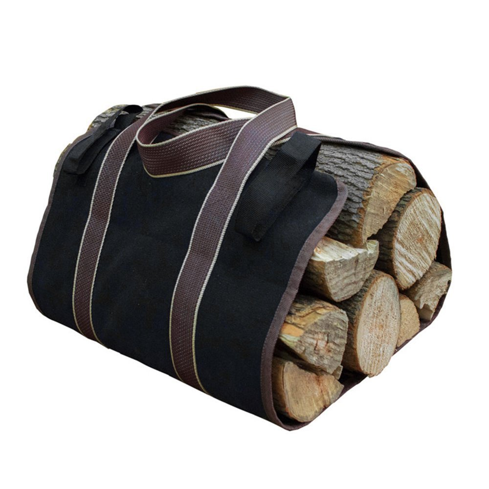 LTDD Portable Log Carrier Canvas Collapsible Firewood Wood Log Holder Bag with Two Handles