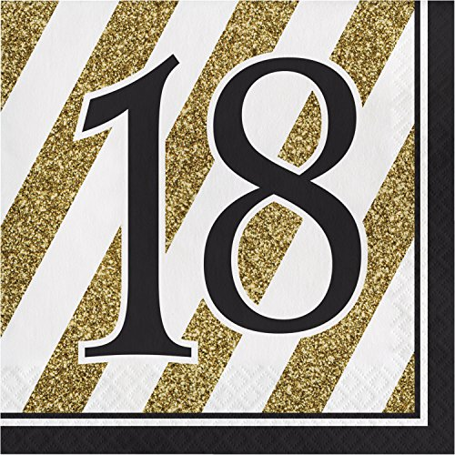 Black and Gold 18th Birthday Napkins, 48 ct ()