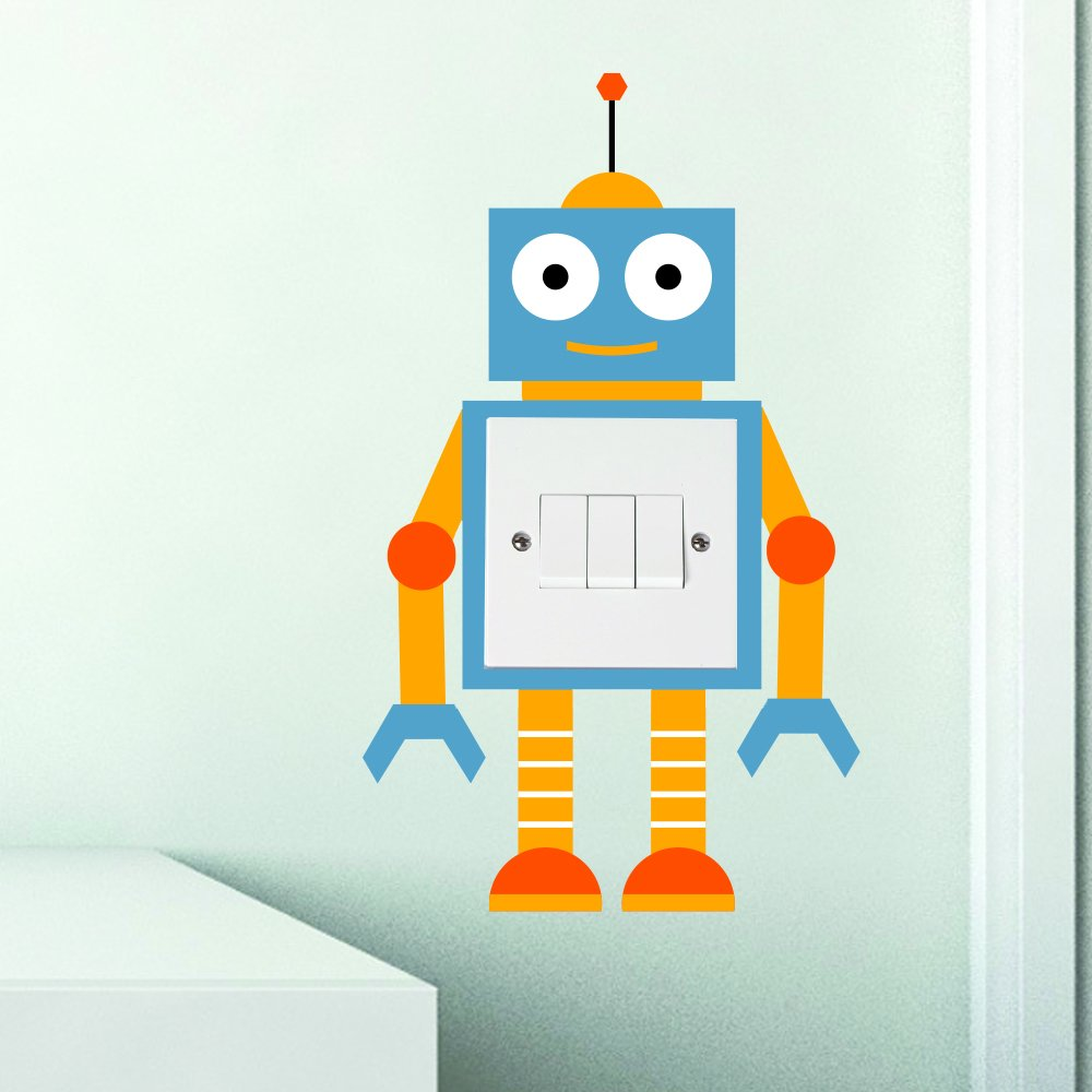 Multi 2 Robot Light Switch Sticker Surround Children's Bedroom Playroom Fun Adhesive Vinyl The Little Unique Boutique