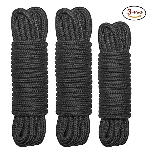 EROKAY All-Purpose Soft Cotton Rope, Pack of 2 x 33 Feet &1x 16 Feet, 1/3-Inch Diameter (Pack of 3) (Black)