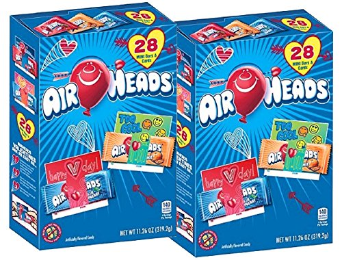 Valentines Bar Candy (Airheads Air Head Valentines Day Mini Bars with School Classroom Exchange Cards 56 total (2 pks of 28))
