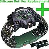 Survival Paracord Bracelet Life Saving Tools Pope Waterproof Luminous Watch Whistle Emergency Knife Fire Starter Scraper Compass Camping Hiking Diving