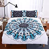 Sleepwish Blue Black Mandala Bedspread 3 Piece Hippie Bedding Sets Teal Duvet Cover Boho Bedding Sets for Boy King Size