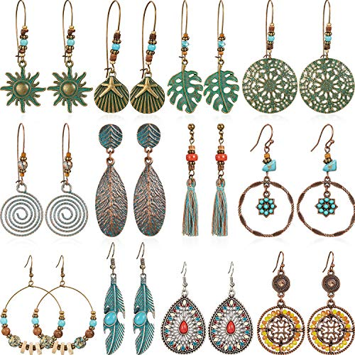 12 Pairs Bohemian Earrings Vintage Dangle Earrings Turquoise Metal Hollow Pendant Earrings Set for Women Girls (Style Set 2) ()