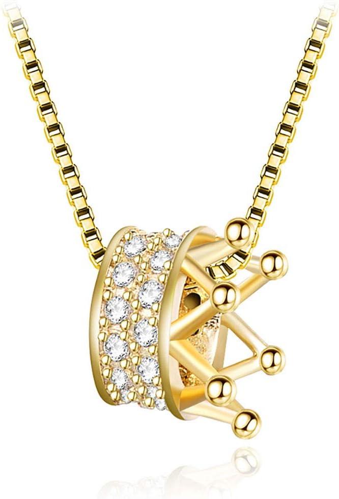 ZZD Cadena de clavícula de Plata esterlina s925 Simple y Elegante, Collar de Oro con Colgante de Corona de Diamantes para Mujer