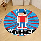 Gzhihine Custom round floor mat Video Games Colorful Retro Gaming Computer Brick Blocks Image Puzzle Digital 90s Play Bedroom Living Room Dorm Decor Multicolor