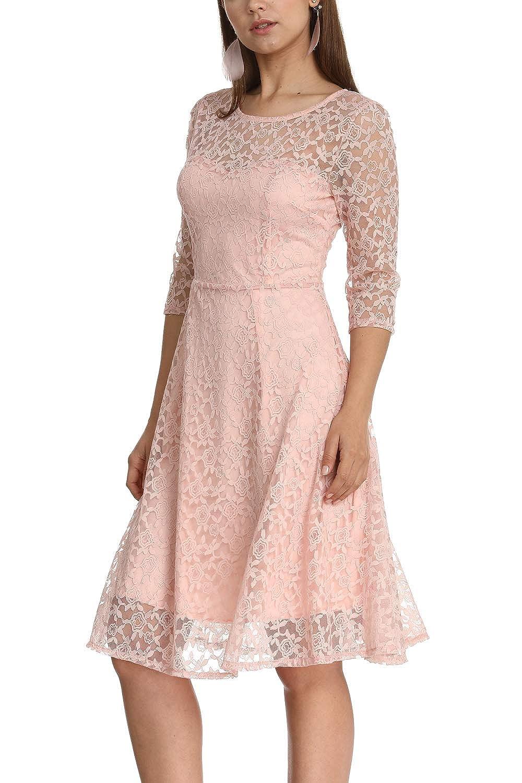 Womens Elegant Plum Blossoms Floral Lace Dress 3//4 Sleeves Bridesmaid Midi Dresses Illusion Neckline
