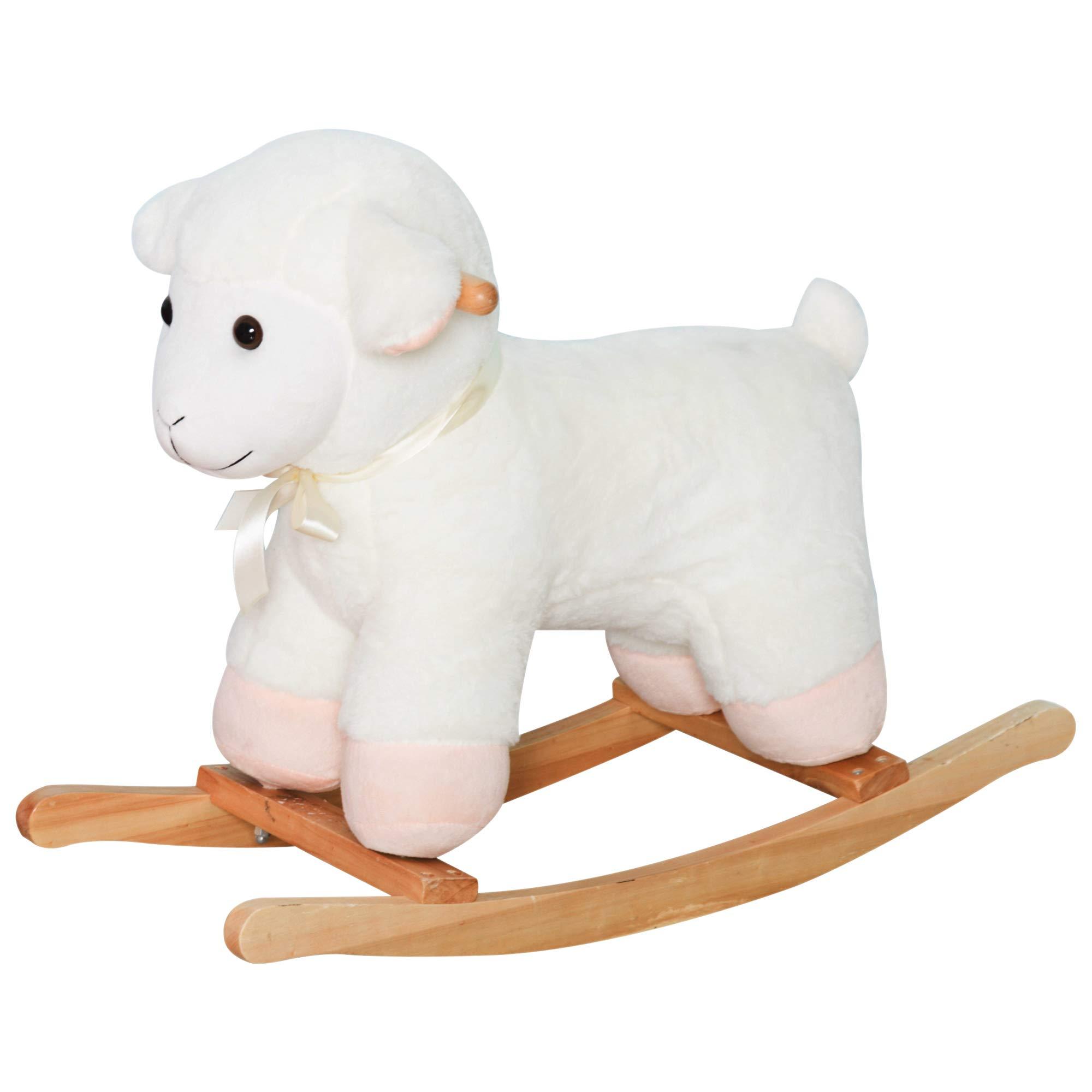 Qaba Kids Playtime Plush Rocking Sheep Lamb Toy Ride on Rocker