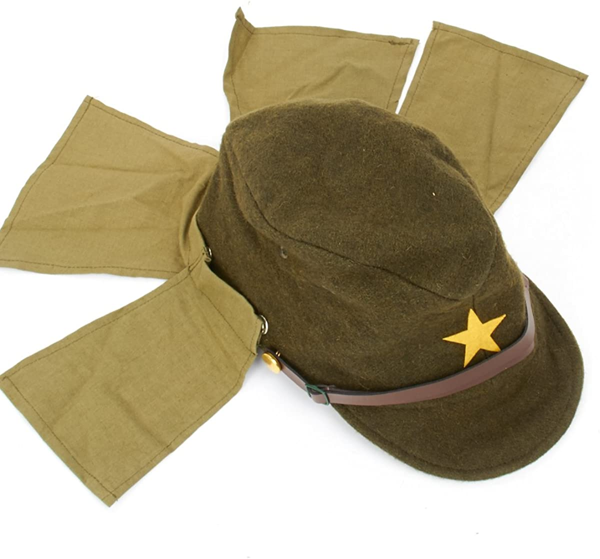 Japanese WWII Army EM//NCO Field Hat with Neck Flaps Size 7 1//2