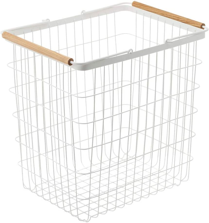Yamazaki Laundry Basket Wooden Handles, Large, White