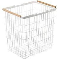 YAMAZAKI home 2810 Laundry Basket Wooden Handles, Large, White