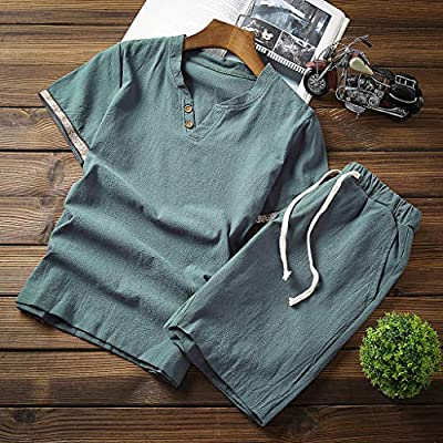 Kstare Mens Outfits 2 Piece Summer V-Neck Retro Linen T-Shirts Tops & Beach Shorts Trousers Sportswear Playsuit at  Men's Clothing store