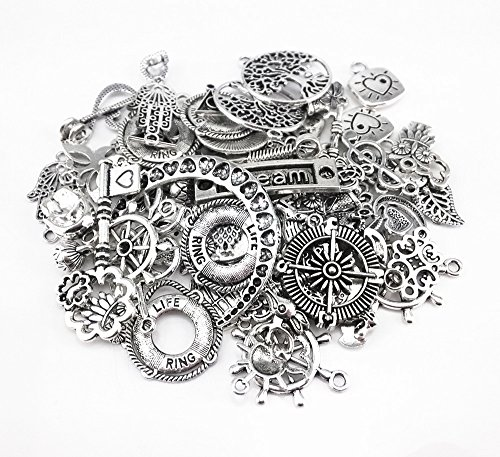Yueton 100 Gram (Approx 80pcs) Assorted DIY Antique Charms Pendant for Crafting, Jewelry Making Accessory (Silver) (Charms)
