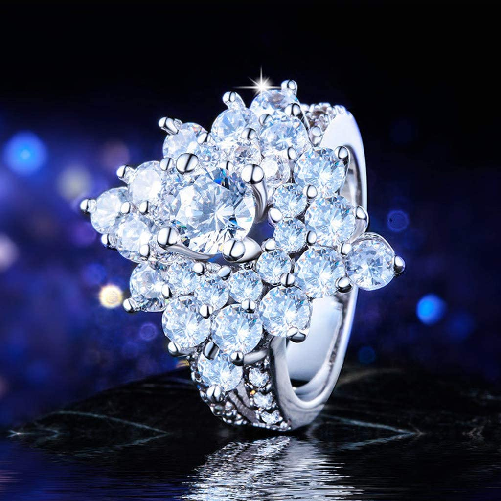 Silver, 10 Allywit 3 in 1 Stainless Steel Rhinestone Ring for Women Ladies Jewelry Engagement Wedding