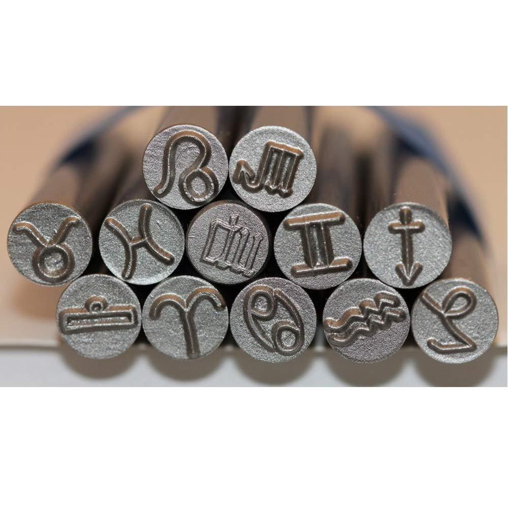 Kent 12pcs Set, 9.0mm Zodiac Symbols Precision Design Metal Punch Stamps