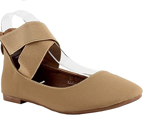 Womens Classic Ballerina Flats with Elastic Crossing Ankle Straps Ballet Flat Yoga Flat Shoes Slip On Loafers