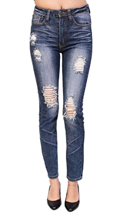 a47bfed308fb Machine Jeans Women High Waist Faded Distressed Skinny Jeans at Amazon  Women's Jeans store