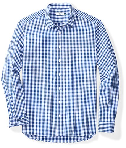 Clifton Heritage Men's Big&Tall Classic Fit Long-Sleeve Spread Collar Gingham Button-up Shirt XXLT Ming Blue&White Check