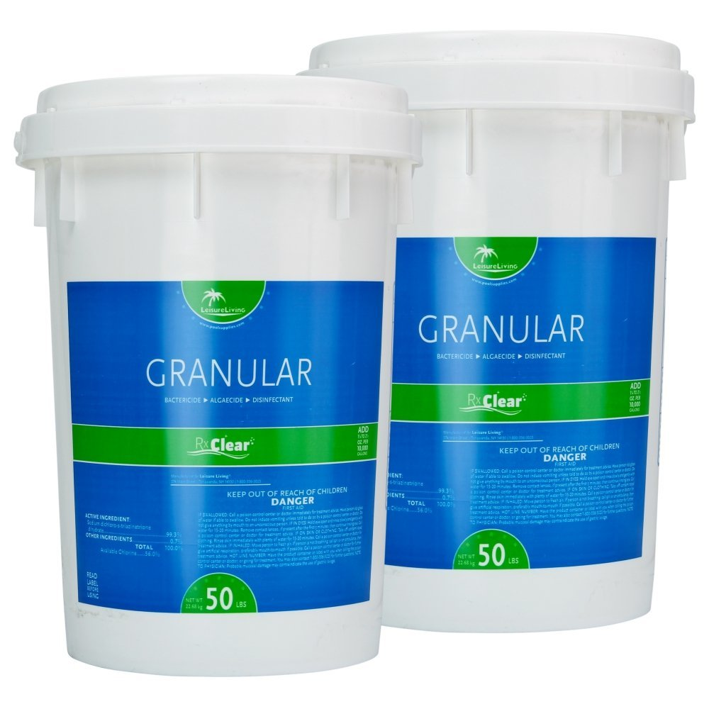 Rx Clear 99% Sodium Dichlor Stabilized Granular Chlorine for Use As Bactericide, Algaecide, and Disinfectant in Swimming Pools and Spas (100-Pounds in 2 50-Pound Buckets) by Rx Clear