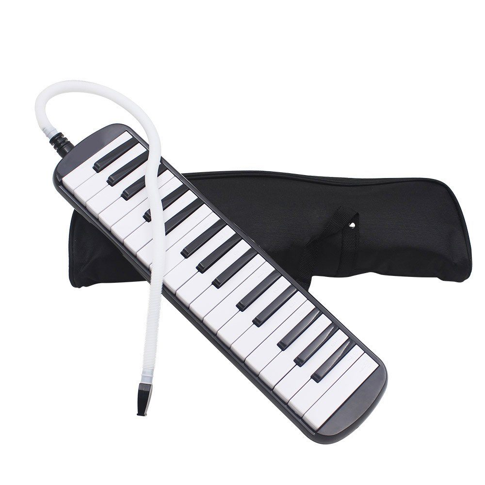 Portable 32 Key Melodica with Blowpipe & Blow Pipe Student Class Harmonica with Bag Toy Gift (Black)