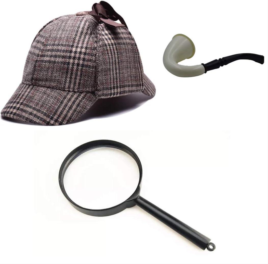 thematys Disfraz de Detective Sherlock Holmes Gorra de Cazador + ...