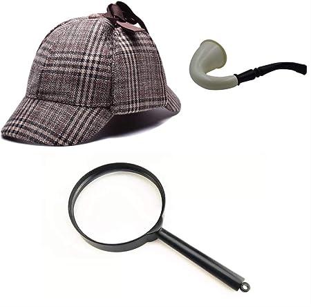 thematys Disfraz de Detective Sherlock Holmes Gorra de Cazador + Pipe + Lupa Carnaval y Cosplay - Talla única (Style 1)